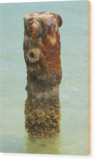 Rusted Dock Pier Of The Caribbean Vii Wood Print