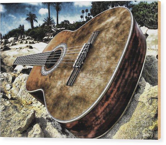 Rustic Guitar Wood Print