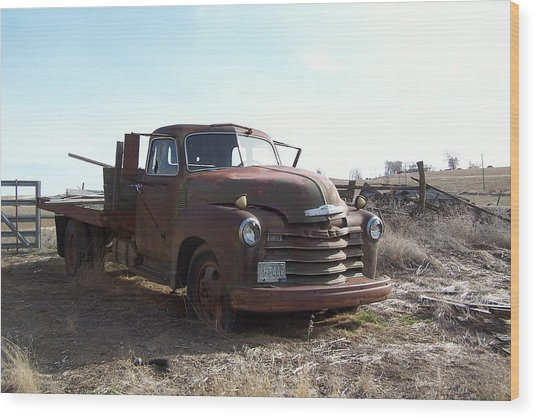 Rusty Abandoned Chevy Truck Wood Print by Richard Adams