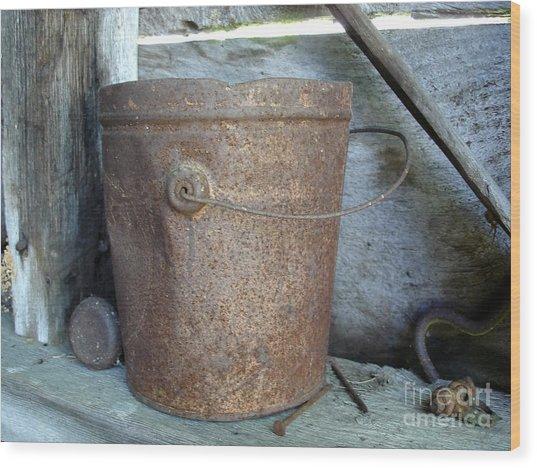 Rusty Bucket Wood Print