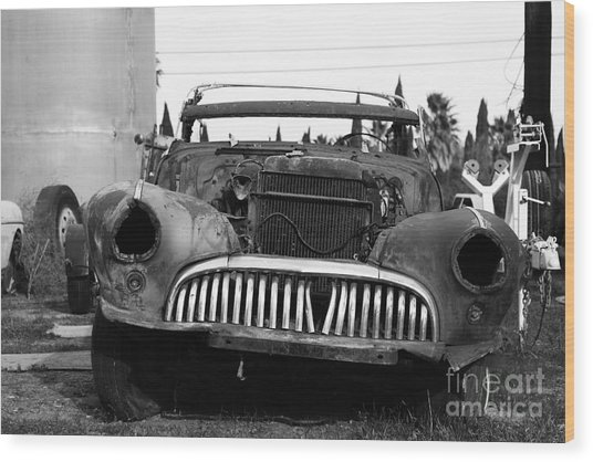 Rusty Old American Car . 7d10343 . Black And White Wood Print by Wingsdomain Art and Photography