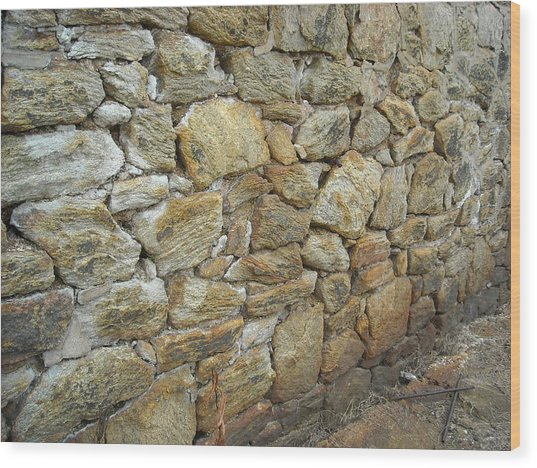 Rusty Stone Wall Wood Print