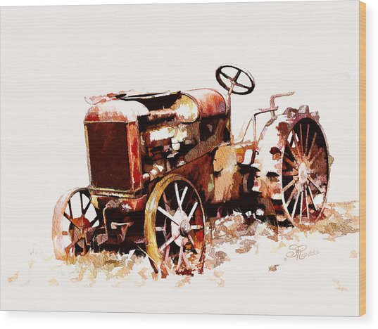 Rusty Tractor In The Snow Wood Print by Suni Roveto