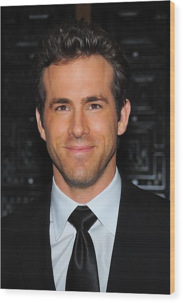 Ryan Reynolds At Arrivals For American Wood Print by Everett