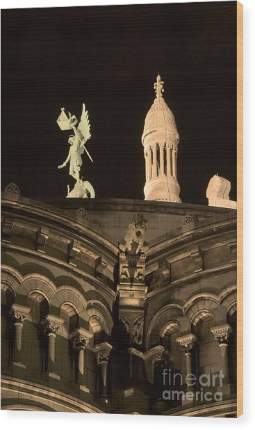 Sacre Coeur By Night Vi Wood Print by Fabrizio Ruggeri