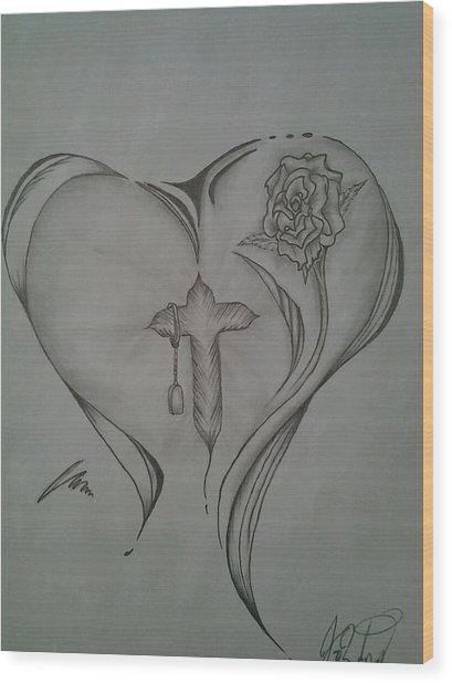 Sacred Heart Wood Print by Jason Rodriguez