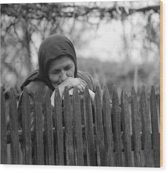 Sad Peasant At The Fence Wood Print