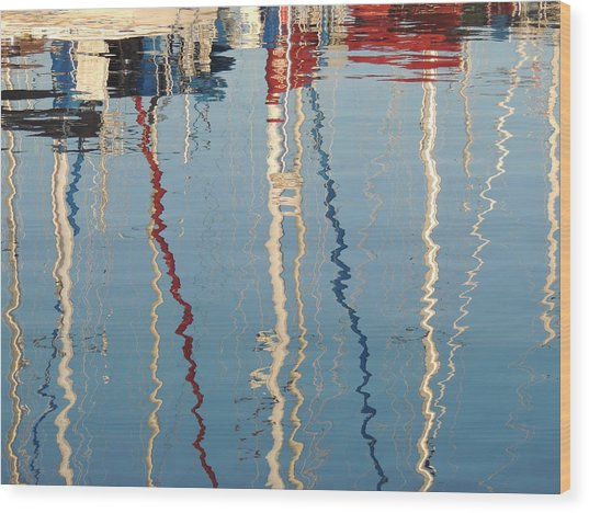 Sailboat Mast Reflection II Wood Print