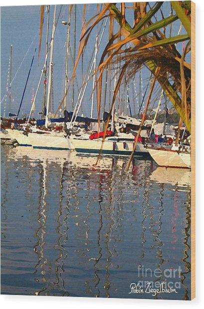 Sailboats In Porquerolles Wood Print by Robin Ziegelbaum