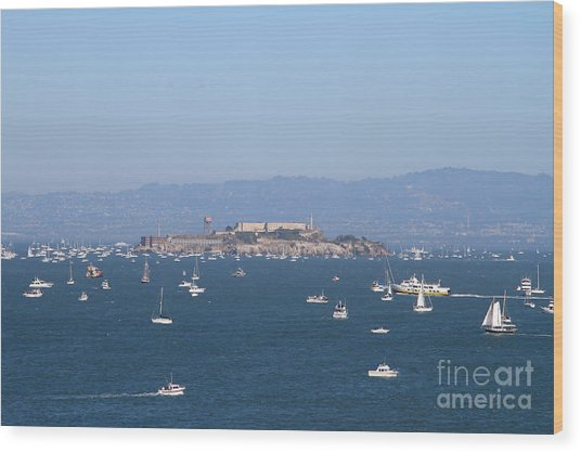 Sailboats In The San Francisco Bay Overlooking Alcatraz . 7d7862 Wood Print by Wingsdomain Art and Photography