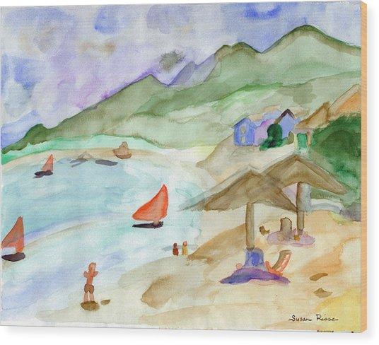 Sailboats Wood Print by Susan Risse