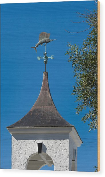 Sailfish Weather Vane At Palm Beach Shores Wood Print