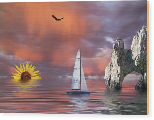 Sailing At Sunset Wood Print
