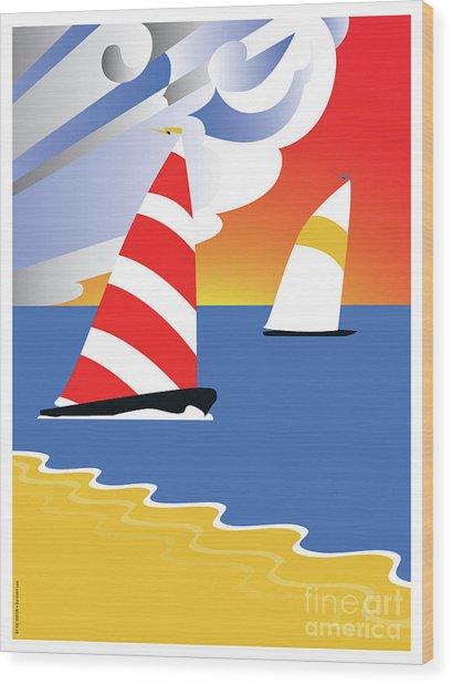 Sailing Before The Wind Wood Print