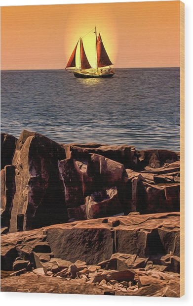 Sailing In Grand Marais Wood Print by Bill Tiepelman