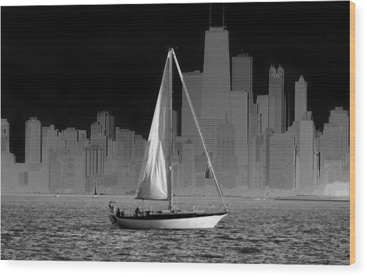 Sailing In Lake Michigan Wood Print