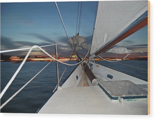 Sailing In The Bay Wood Print by Jim and Kim Shivers
