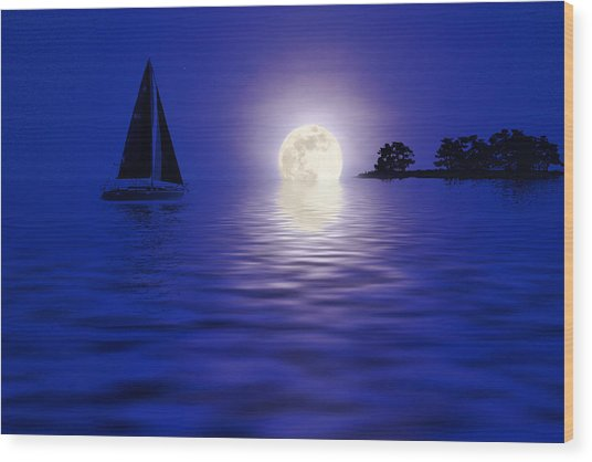 Sailing Into The Moonlight Wood Print