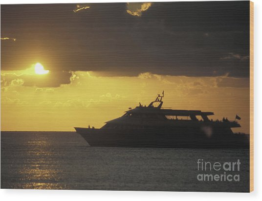 Sailing Into The Sun Cozumel Mexico Wood Print by John  Mitchell
