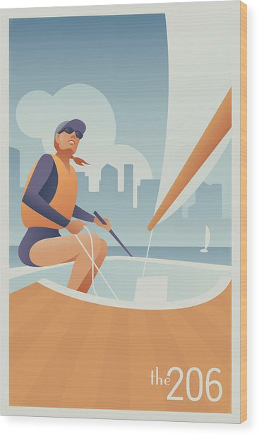 Sailing Lake Union In Seattle Wood Print