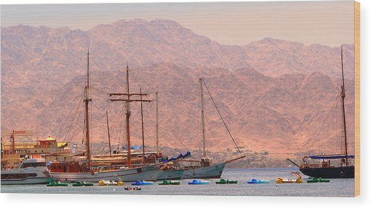 Sailing Ships Wood Print by Yula Sander
