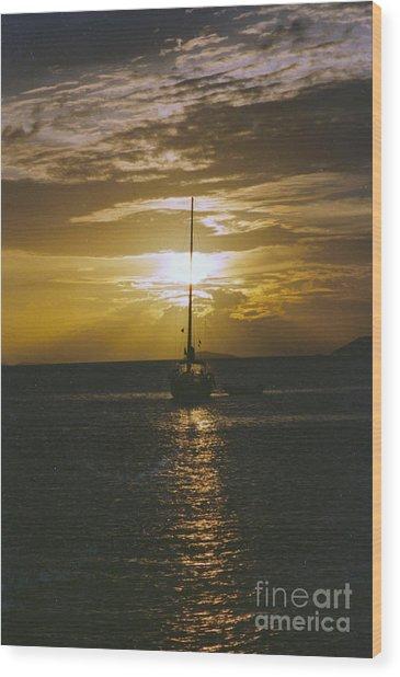 Sailing Sunset Wood Print
