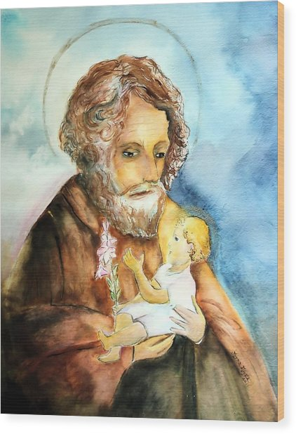 Saint Joseph And Child Wood Print by Myrna Migala