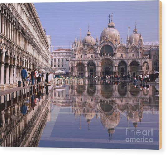 Saint Mark Square Under Water Wood Print by Serge Fourletoff