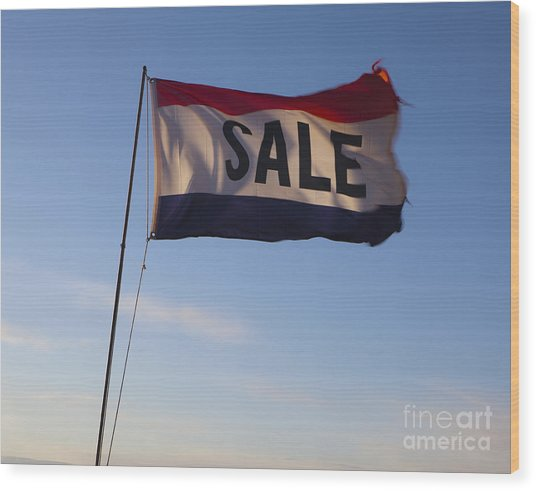 Sale Flag In The Wind Wood Print by Paul Edmondson
