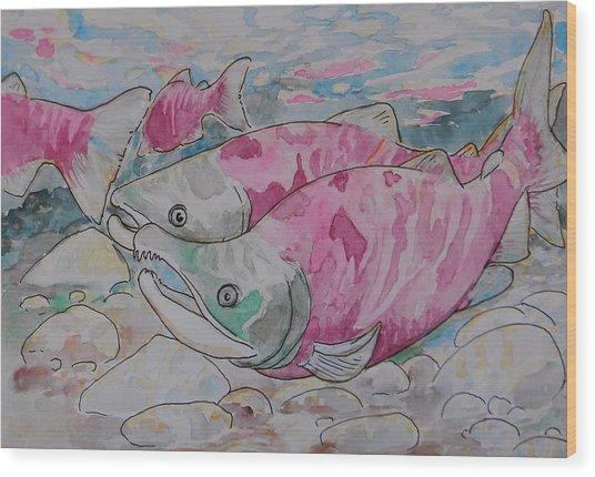 Salmon Spawn Wood Print