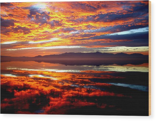 Salton Sea Sunset Number One Wood Print