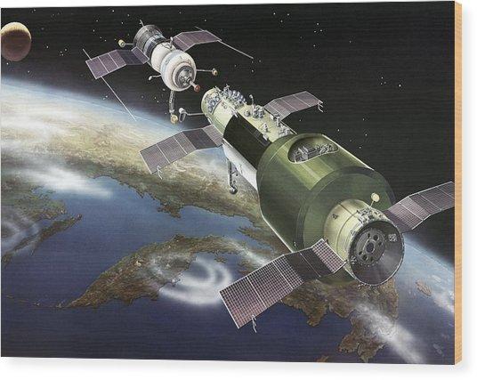 Salyut 1 Space Station, Artwork Wood Print by Ria Novosti