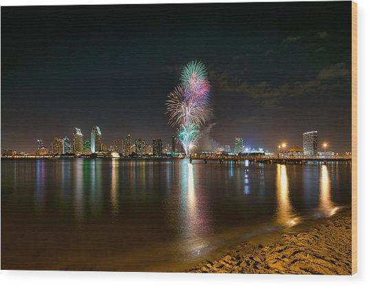 San Diego Fireworks Wood Print