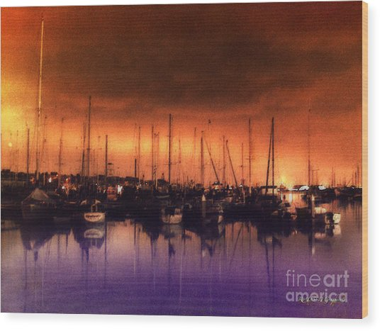 San Diego Harbor Midnight Moon Wood Print
