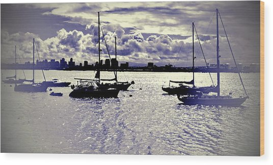Wood Print featuring the digital art San Diego View From Shelter Island IIi by Visual Artist Frank Bonilla