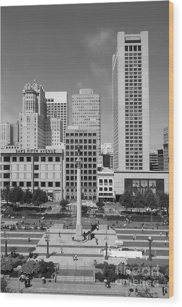 San Francisco - Union Square - 5d17941 - Black And White Wood Print by Wingsdomain Art and Photography
