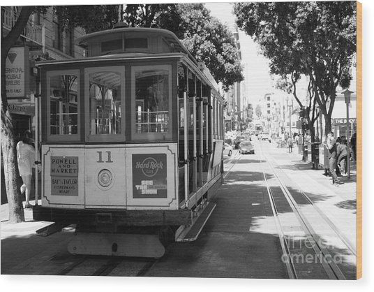 San Francisco Cable Cars At The Powell Street Cable Car Turnaround - 5d17962 - Black And White Wood Print by Wingsdomain Art and Photography