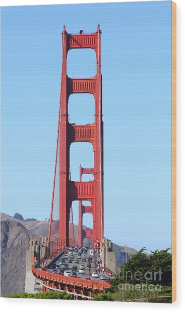 San Francisco Golden Gate Bridge . 7d8146 Wood Print by Wingsdomain Art and Photography