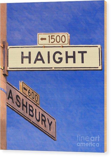 San Francisco Haight Ashbury Wood Print by Wingsdomain Art and Photography