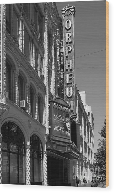 San Francisco Orpheum Theatre - 5d17997 - Black And White Wood Print by Wingsdomain Art and Photography
