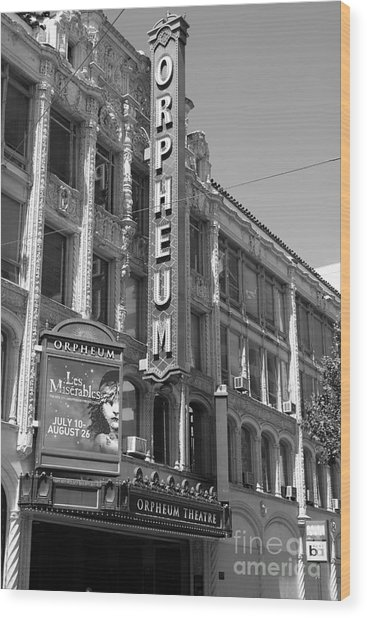 San Francisco Orpheum Theatre - 5d18007 - Black And White Wood Print by Wingsdomain Art and Photography