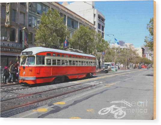 San Francisco Streetcar At The Orpheum Theatre - 5d17998 - Painterly Wood Print by Wingsdomain Art and Photography
