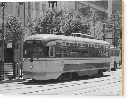 San Francisco Vintage Streetcar On Market Street - 5d17972 - Black And White Wood Print by Wingsdomain Art and Photography