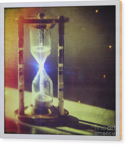 Sand Through Hourglass Wood Print