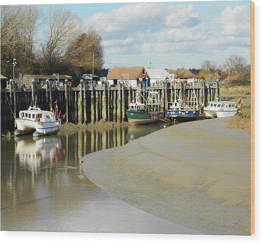 Sandbanks And Boats Wood Print by Sharon Lisa Clarke