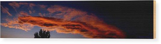 Sandia Heights Fiery Sunset Panoramic Wood Print by Aaron Burrows