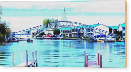 Sandy Beach Bridge Wood Print