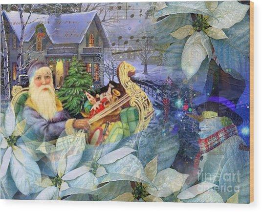 Santa In Blue Wood Print