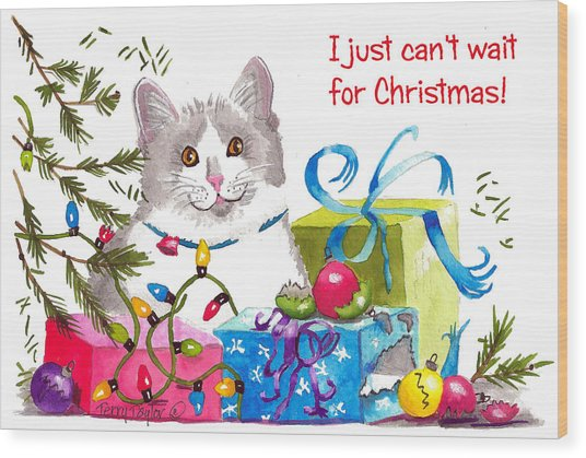 Santa's Helper Greetings Wood Print
