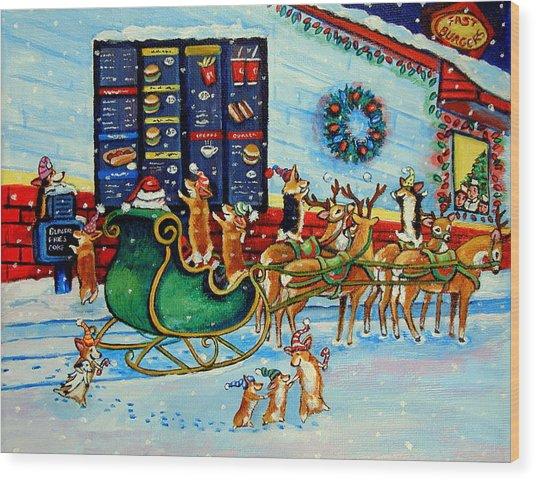 Santa's Pit Stop On  December 24th Wood Print